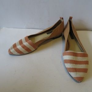 RACHEL ZOE TAN/PEACH/CREAM LEATHER CANVAS FLATS 7